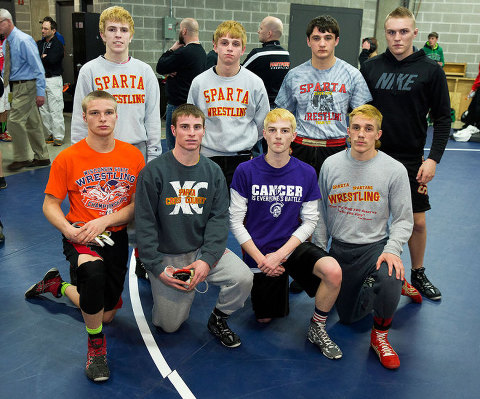Sparta's eight state qualifiers. Top row from left: Lamon, VonRuden, Krein, VanTassel.  Bottom row from left:  Polhamus, Roddick, Zimmerman, Winchel.