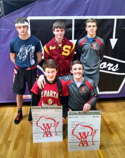 Sparta's five state tournament qualifiers.  Back row from left: Hayden Krein, Brett Von Ruden and Christian Lamon.  Front row from left:  Jon Bailey and Jaden Winchel